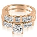 2.00 cttw. 14K Rose Gold Princess Cut Diamond Engagement Bridal Set - Thumbnail 0