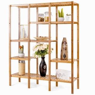 Eco-Friendly Bamboo 4-Shelf Bookcase Storage Rack