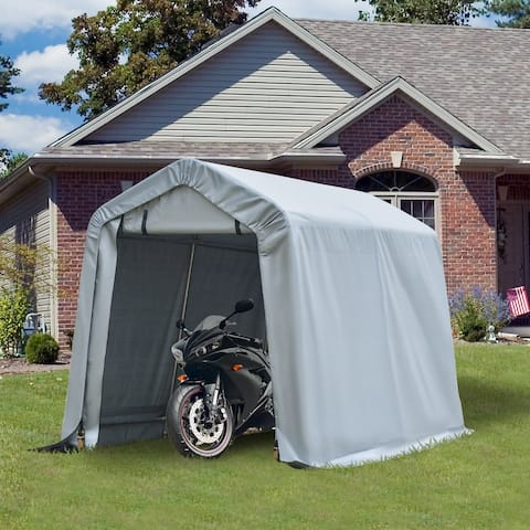 Outsunny 8' L x 6' W Heavy Duty Outdoor Carport Awning/Canopy with Weather-Fighting Material & Stakes / Guy Wire Kit
