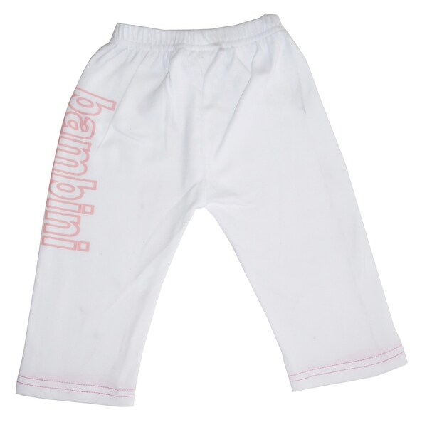 """6"""" Matte White Solid Large Whimsical Infant Girls Sweat Pants with Print. Opens flyout."""