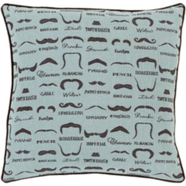 """20"""" Aqua Green and Bear Brown Jacquard Decorative Throw Pillow"""