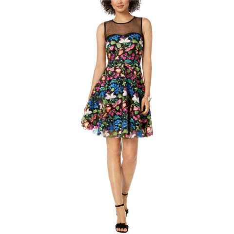 Tahari Womens Floral Embroidered Fit & Flare Dress