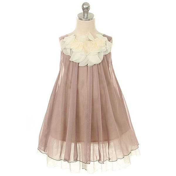 976f98ff1e6c Kids Dream Little Girls Mocha Chiffon Floral Lace Bodice Easter Dress 2T-14.  Image Gallery