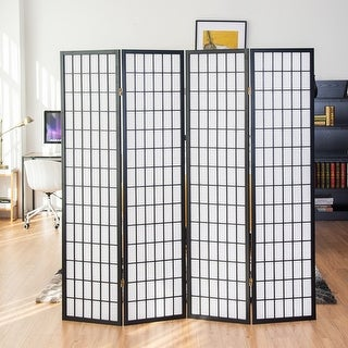 Costway 4 Panel Room Divider Folding Privacy Shoji Screen Pine Wood Frame  Black