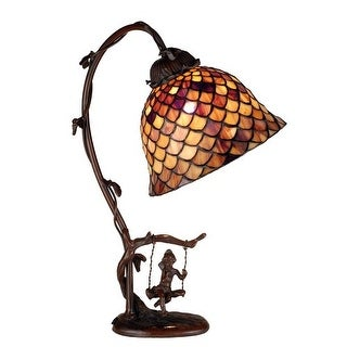 Meyda Tiffany 74046 Stained Glass / Tiffany Accent Desk Lamp from the Fishscale Collection