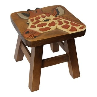 Giraffe Jungle Animal Carved Stained Wood Step Stool Painted Design