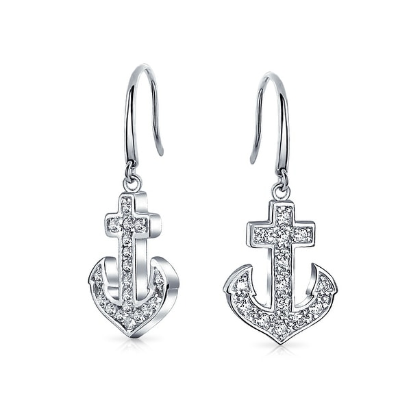 Bling Jewelry Pave Clear Cz 925 Sterling Silver Anchor Earrings