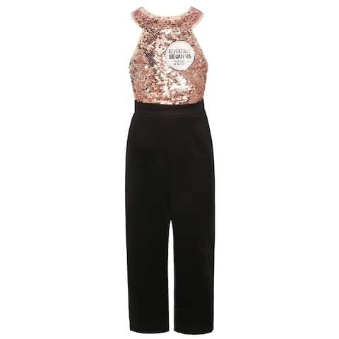 Girls Blush Pink Sequin Halter Top Black 1pc Dressy Occasion Jumpsuit