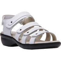 Propet Women's Aurora Strappy Slingback Sandal White Full Grain Leather