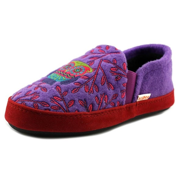 Acorn Kids Colby Gore Moc Youth Round Toe Canvas Purple Slipper