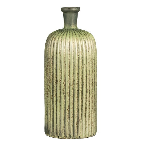 """13"""" x 5"""" Metallic Green Cacti Patterned Glass Vase - N/A"""