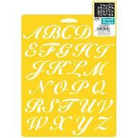 "Script Alphabet 1"" - Stencil Mania Stencil 7""X10"""
