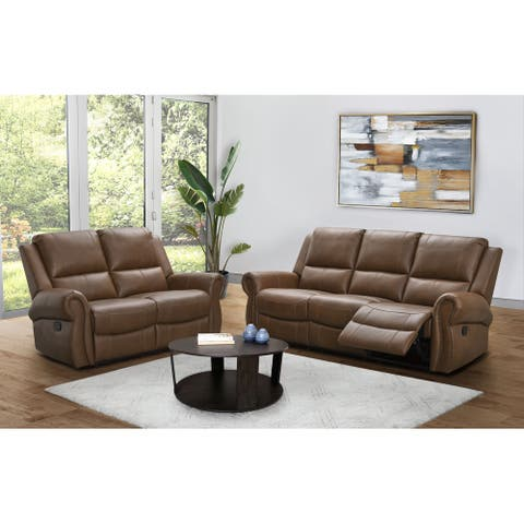 Abbyson Winston Manual Reclining Sofa and Loveseat Set