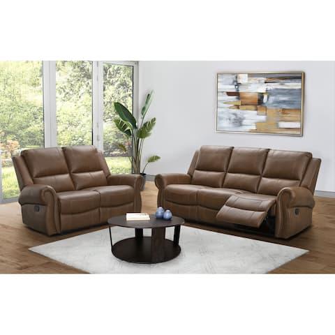 Abbyson Winston Manual Reclining Sofa and Loveseat Set