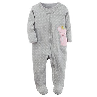 Carter's Baby Girls' Cotton Sleep and Play, 6 Months - gray