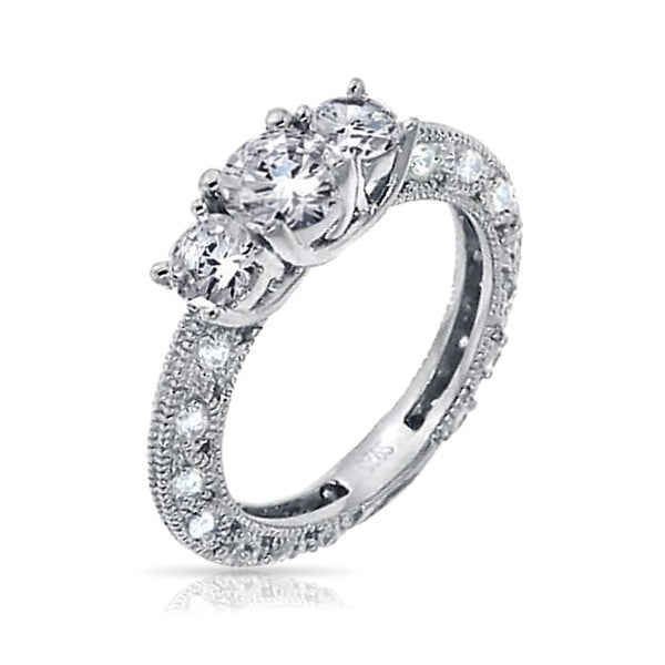 Bridal & Wedding Party Jewelry .925 Sterling Silver 3 Mm Cz Vintage Style Engagement Ring Selected Material