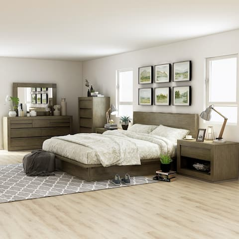 Furniture of America Puly Transitional Light Walnut California King Size Bedroom Set
