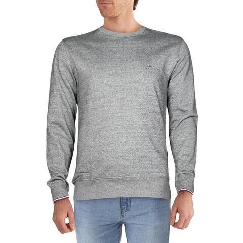 Tommy Hilfiger Mens Sweatshirt Contrast Trim Logo - Grey