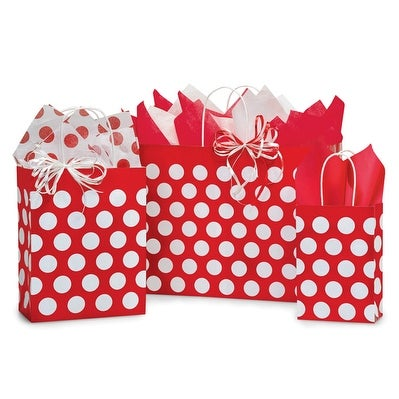 Pack of 125, Red Polka Dots Bag Assortment Great For Christmas Or Valentine Packaging