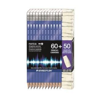 Staedtler #2 Norica Pencils - 60Ct, 50 Latex Pvc Free Eraser Caps