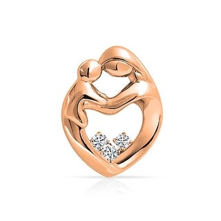 Bling Jewelry Rose Gold Plated .925 Silver CZ Mother Child Heart Pendant
