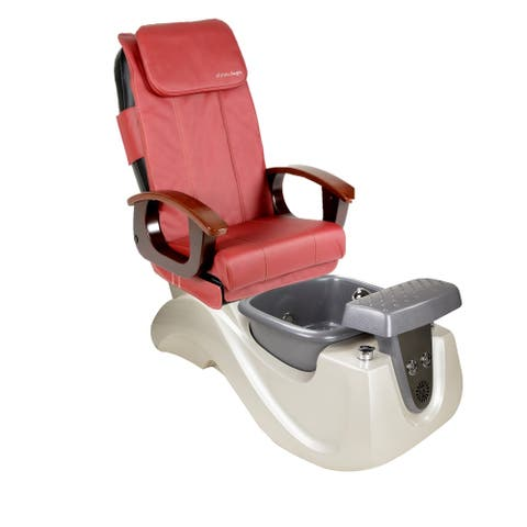 Pedicure Massage Chair SERENITY II White/Silver Tub, PI Full Function Massage Chair, Red Cover Set