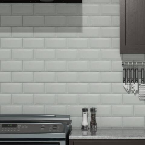 "SomerTile Isla Craquelle Biselado Blanco 3"" x 6"" Ceramic Subway Wall Tile"