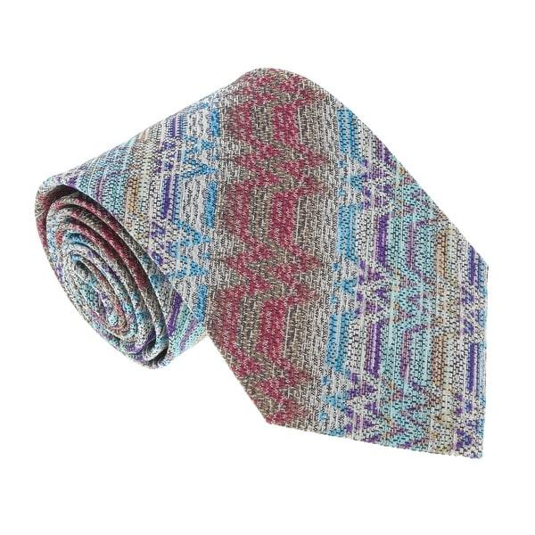 Missoni U4918 Pink/Gold Flame Stitch 100% Silk Tie - 60-3