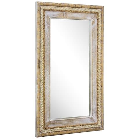"Woven Rattan Mirror 39"" x 24"" - Brown"