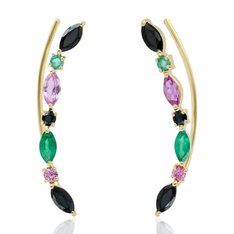 Valentine Natural Emerald Ear Climber Earrings 18k Yellow Gold Jewelry