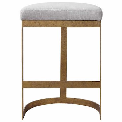 "Uttermost 23523 Ivanna 18"" Wide Upholstered Urban Counter Stool - Cream / Mottled Gold Leaf"