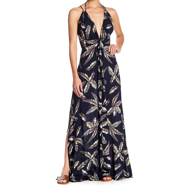 98d5a7c2781 Shop AAKAA Blue Womens Size Small S Plunged Feather-Print Maxi Dress - Free  Shipping On Orders Over  45 - Overstock - 27673097