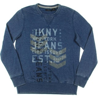 DKNY Jeans Mens Knit Graphic Crew Sweatshirt