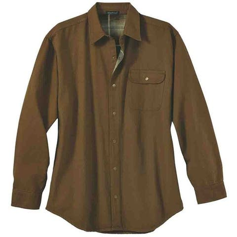 River's End Mens Canvas & Flannel Shirt Jacket Casual Outerwear Shirt