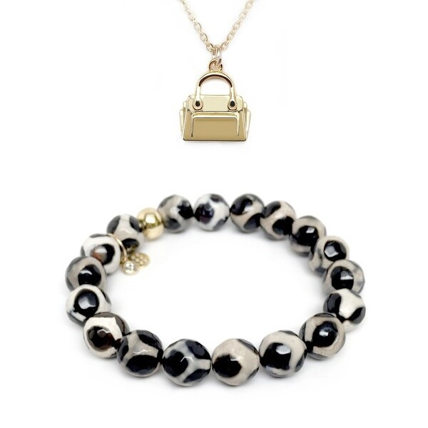 "Black & White Agate 7"" Bracelet & Handbag Gold Charm Necklace Set"