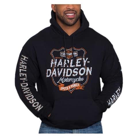 Harley-Davidson Men's Distressed Shield Pullover Poly-Blend Hoodie, Black