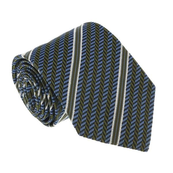 Missoni U4530 Olive/Blue Regimental 100% Silk Tie - 60-3