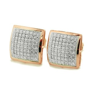 10K Rose Gold Diamond Stud Earrings Pave Set 10mm Wide Screw Back 0.35ctw by Midwest Jewellery - White G-H