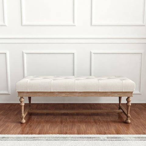 Hammond Natural White Wash 49-Inch Tufted Bench