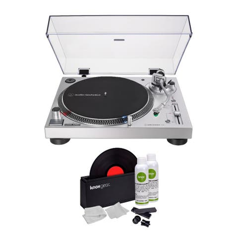 Audio-Technica AT-LP120XUSB USB Turntable (Silver) with Cleaner Kit