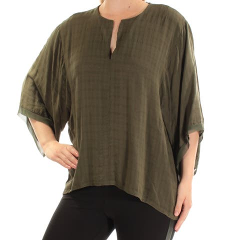 CATHERINE MALANDRINO Womens Green Kimono Sleeve V Neck Top Size: M