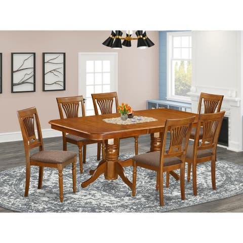 East West Furniture Modern 7 Pc Dining room set-Dining Table and 6 Dining Chairs - Saddle Brown Finish (Pieces Option)