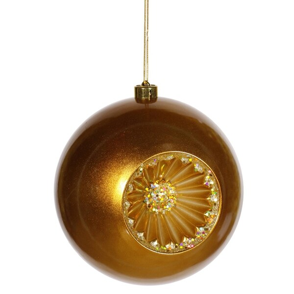 "Antique Gold Retro Reflector Shatterproof Christmas Ball Ornament 8"" (200mm)"