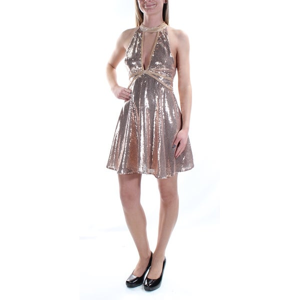 7450c0febe9 Shop FREE PEOPLE Womens Pink Sequined Velvet Trim Sleeveless Halter Mini Fit  + Flare Cocktail Dress Size  2 - Free Shipping On Orders Over  45 -  Overstock - ...