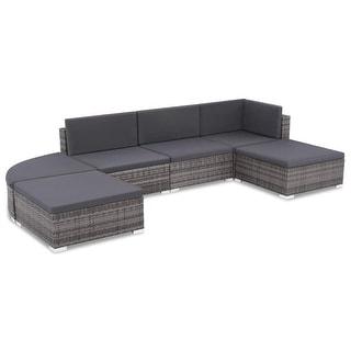 "vidaXL 6 Piece Garden Lounge Set with Cushions Poly Rattan Gray - 27.6"" x 27.6"" x 11.8"""