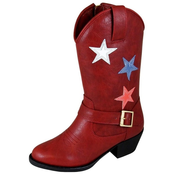 62b62e265bf Smoky Mountain Western Boots Girls Star Bright Children's Red