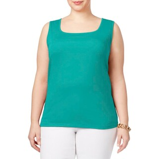 Karen Scott Womens Plus Casual Top Square-Neck Sleeveless