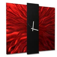 Statements2000 Red / Black 24-inch Metal Hanging Wall Clock - Lavish Mechanism