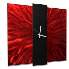 Statements2000 Red / Black 24-inch Metal Hanging Wall Clock - Lavish Mechanism