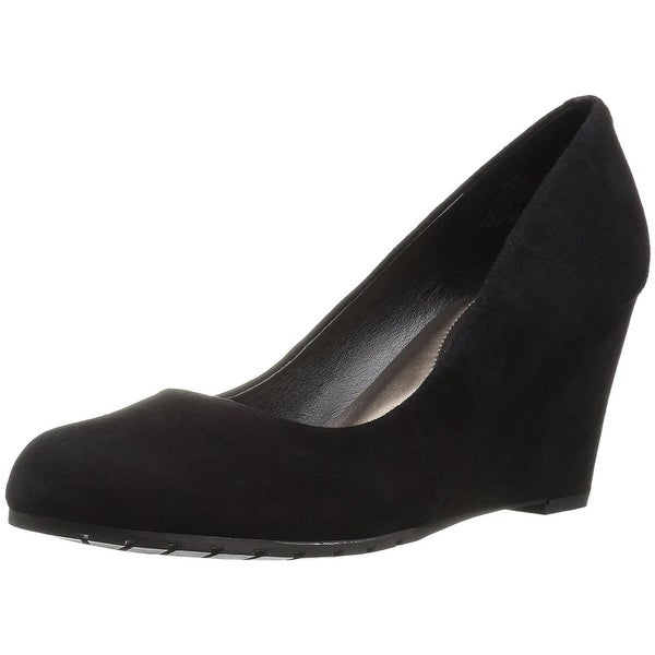 Easy Spirit Womens Clauda Leather Round Toe Wedge Pumps
